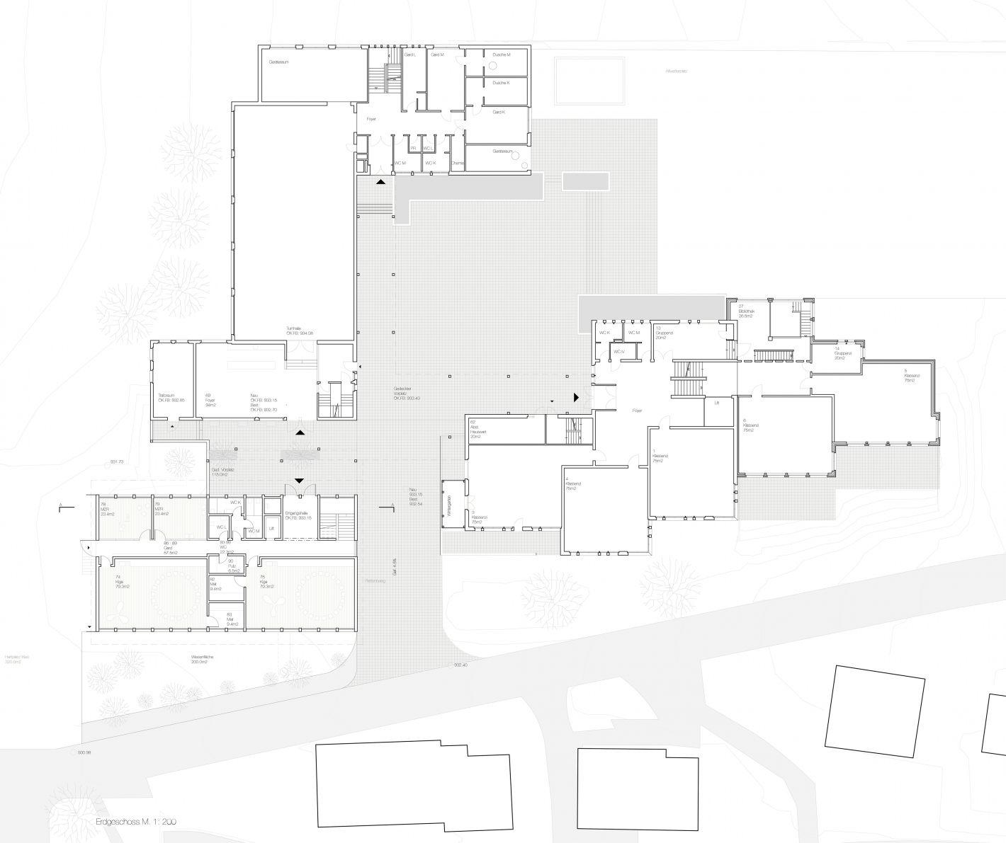 Grundriss Erdgeschoss mit Bestandsgebäuden
